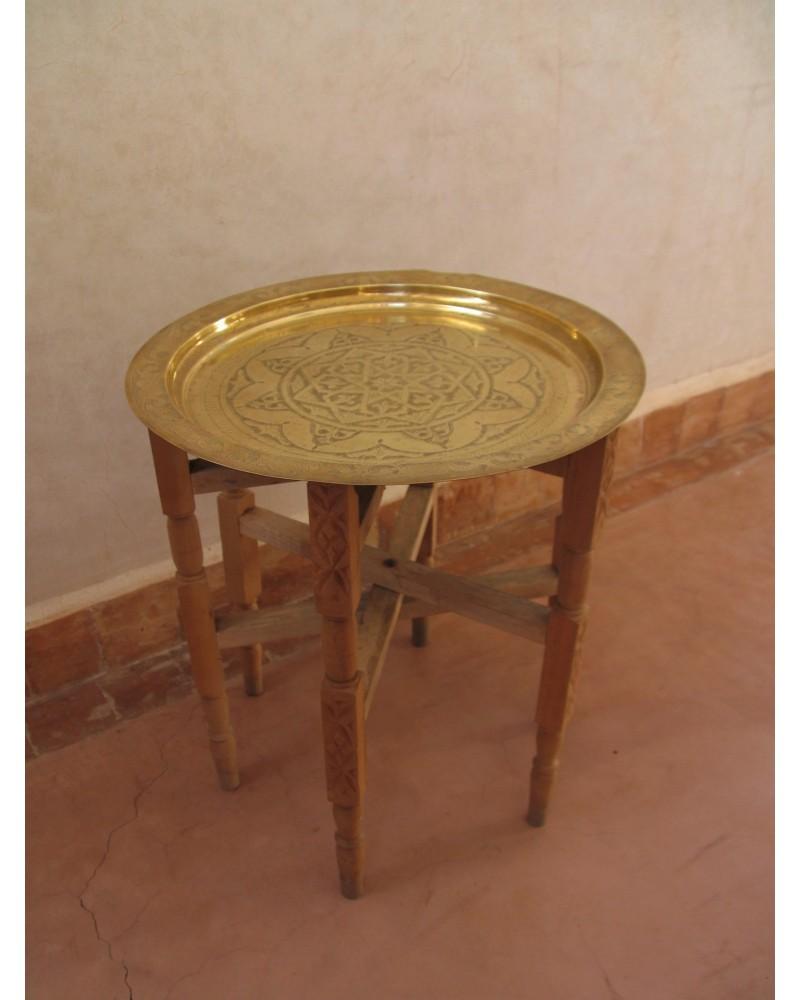 Table Basse Plateau Cuivre Pieds Bois Artisanat Marrakech Deco