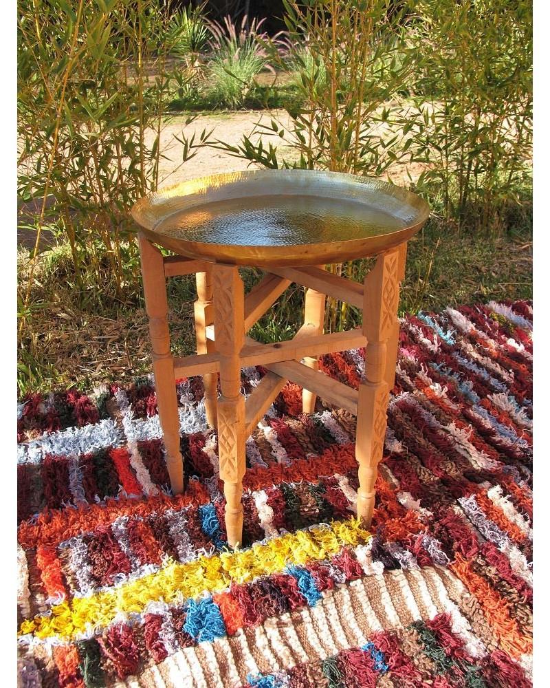 Table Cuivre Plateau MarteléPieds Basse BoisMarrakech Deco nO08Pwk