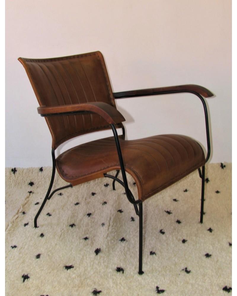 Chaise Fer Forgé Et Bois fauteuil vintage fer forgé, bois et cuir   marrakech deco